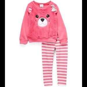 Nannette Pink Bear Sweatshirt & Stripe Leggings